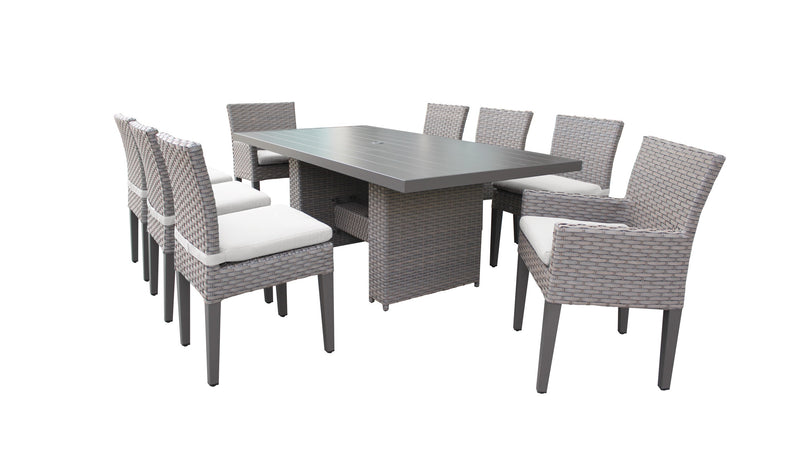 Monterey Rectangular Outdoor Patio Dining Table With 6 Armless Chairs And 2 Chairs W- Arms