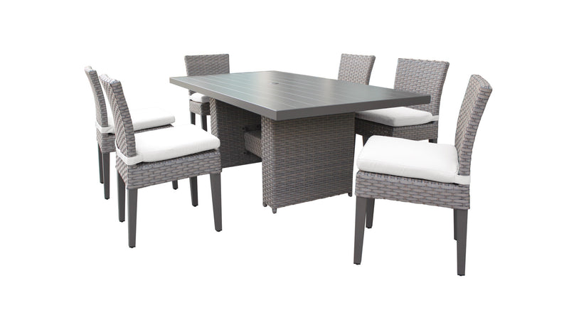 Monterey Rectangular Outdoor Patio Dining Table with 6 Armless Chairs