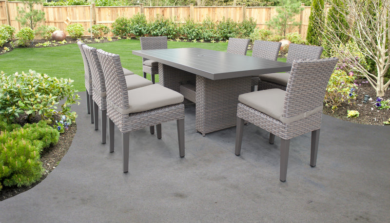 Monterey Rectangular Outdoor Patio Dining Table with 8 Armless Chairs