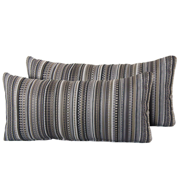 Black Stripe Outdoor Throw Pillows Rectangle Set of 2