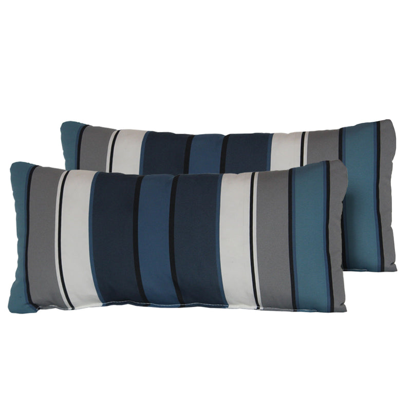 Captains Blue Stripe Outdoor Throw Pillows Rectangle Set of 2