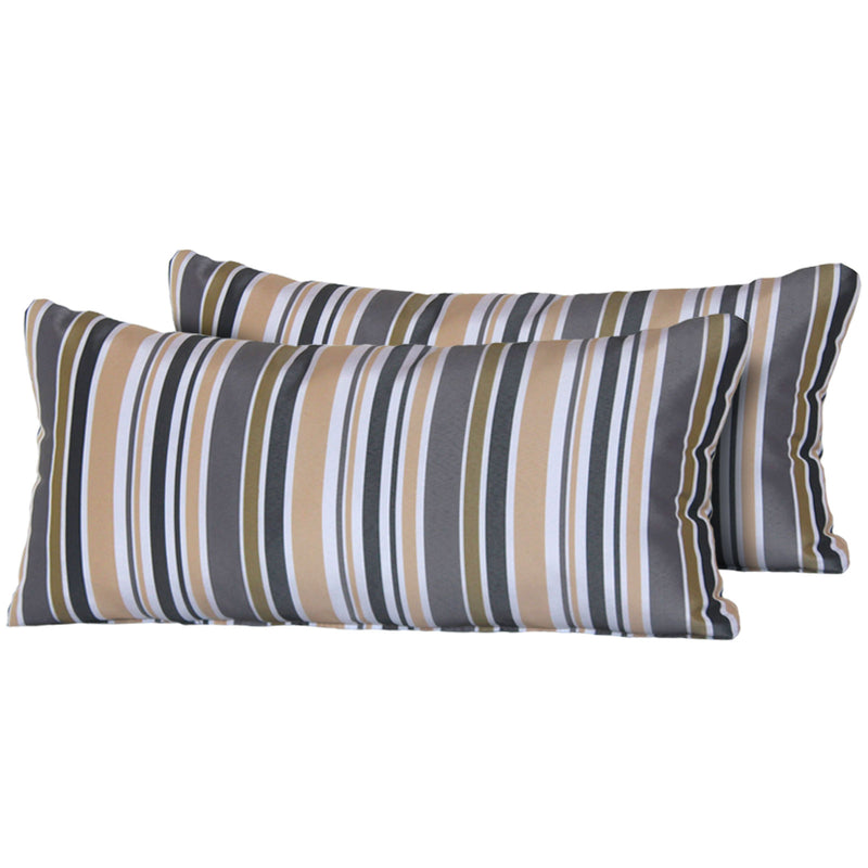Gold Stripe Outdoor Throw Pillows Rectangle Set of 2