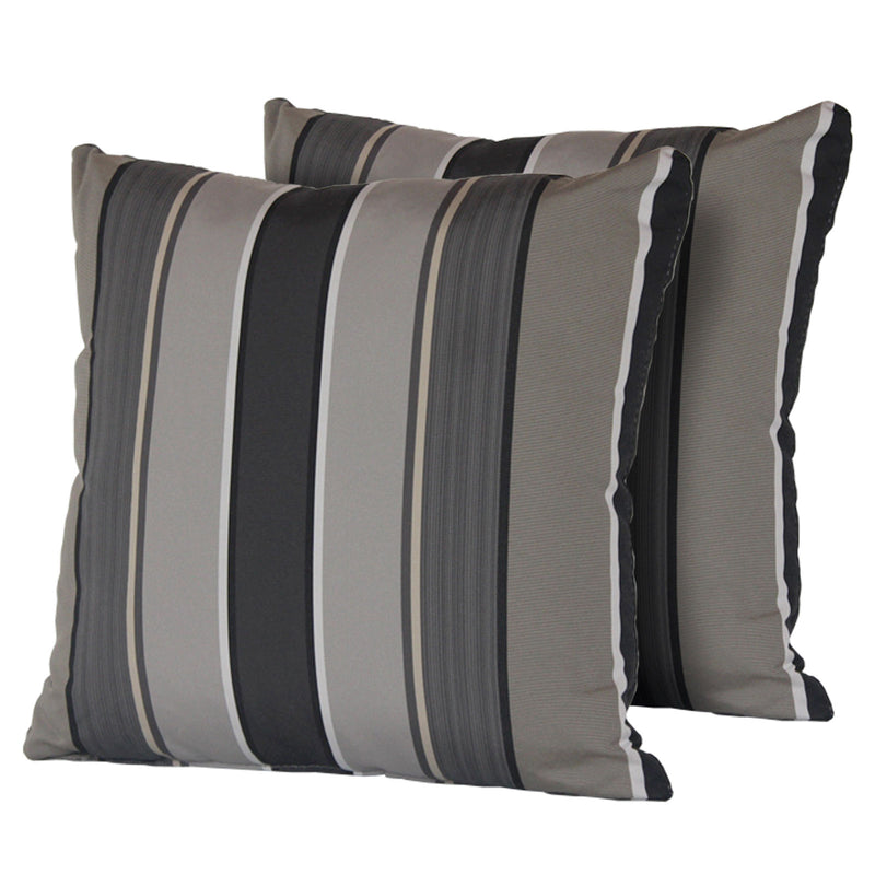 Grey Mix Stripe Outdoor Throw Pillows Square Set of 2