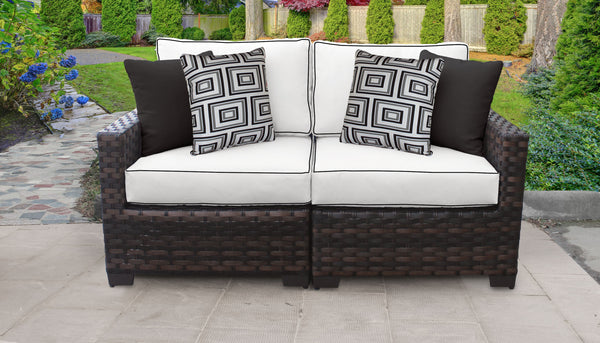 Kathy Ireland Homes & Gardens River Brook 2 Piece Outdoor Wicker Patio Furniture Set 02a