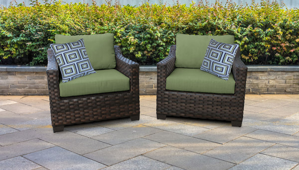 Kathy Ireland Homes & Gardens River Brook 2 Piece Outdoor Wicker Patio Furniture Set 02b