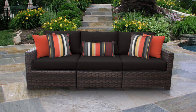 Kathy Ireland Homes & Gardens River Brook 3 Piece Outdoor Wicker Patio Furniture Set 03c