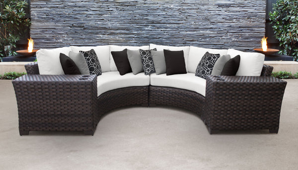 Kathy Ireland Homes & Gardens River Brook 4 Piece Outdoor Wicker Patio Furniture Set 04a