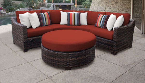Kathy Ireland Homes & Gardens River Brook 4 Piece Outdoor Wicker Patio Furniture Set 04b