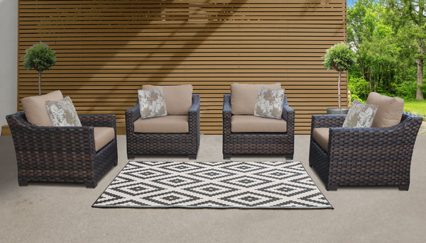 Kathy Ireland Homes & Gardens River Brook 4 Piece Outdoor Wicker Patio Furniture Set 04g