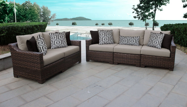 Kathy Ireland Homes & Gardens River Brook 5 Piece Outdoor Wicker Patio Furniture Set 05a