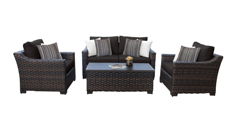Kathy Ireland Homes & Gardens River Brook 5 Piece Outdoor Wicker Patio Furniture Set 05c