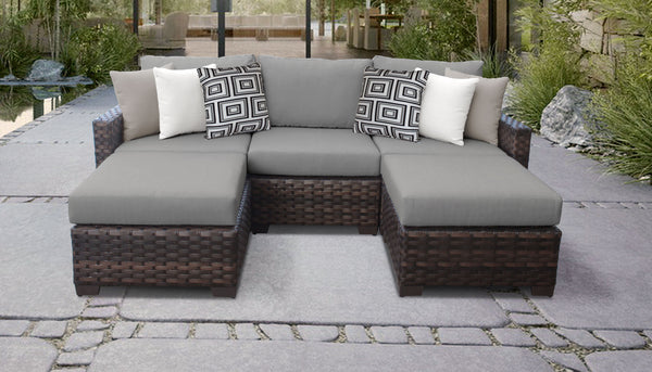Kathy Ireland Homes & Gardens River Brook 5 Piece Outdoor Wicker Patio Furniture Set 05e