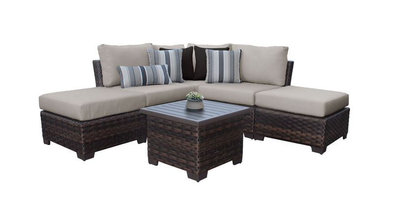 Kathy Ireland Homes & Gardens River Brook 6 Piece Outdoor Wicker Patio Furniture Set 06b