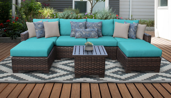 Kathy Ireland Homes & Gardens River Brook 7 Piece Outdoor Wicker Patio Furniture Set 07a