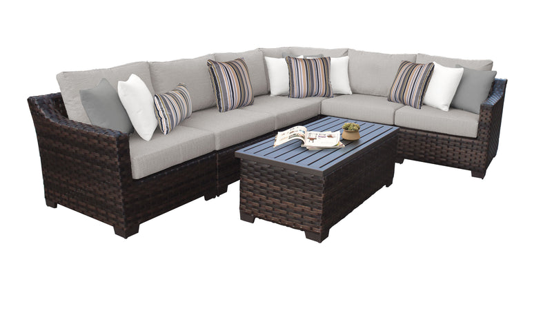 Kathy Ireland Homes & Gardens River Brook 7 Piece Outdoor Wicker Patio Furniture Set 07b