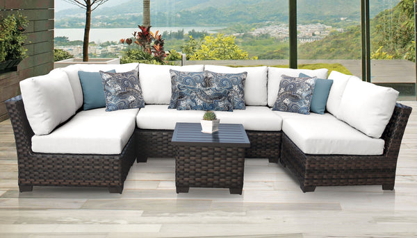 Kathy Ireland Homes & Gardens River Brook 7 Piece Outdoor Wicker Patio Furniture Set 07c