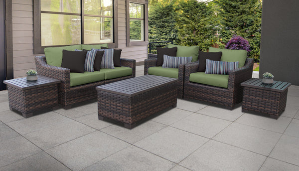 Kathy Ireland Homes & Gardens River Brook 7 Piece Outdoor Wicker Patio Furniture Set 07d