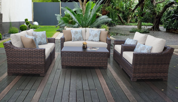 Kathy Ireland Homes & Gardens River Brook 7 Piece Outdoor Wicker Patio Furniture Set 07e