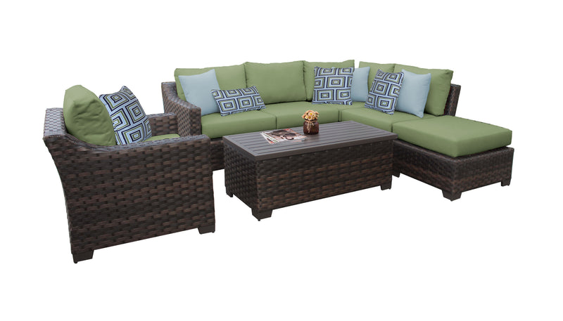 Kathy Ireland Homes & Gardens River Brook 7 Piece Outdoor Wicker Patio Furniture Set 07f