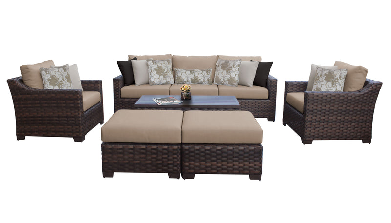 Kathy Ireland Homes & Gardens River Brook 8 Piece Outdoor Wicker Patio Furniture Set 08c