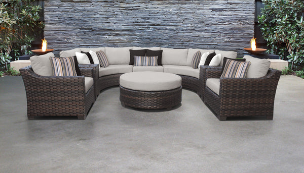 Kathy Ireland Homes & Gardens River Brook 8 Piece Outdoor Wicker Patio Furniture Set 08h