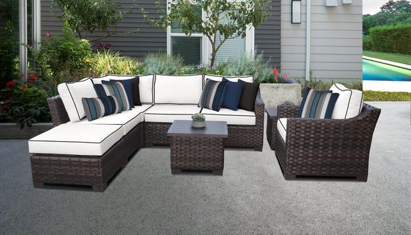 Kathy Ireland Homes & Gardens River Brook 8 Piece Outdoor Wicker Patio Furniture Set 08m