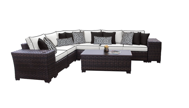 Kathy Ireland Homes & Gardens River Brook 9 Piece Outdoor Wicker Patio Furniture Set 09a