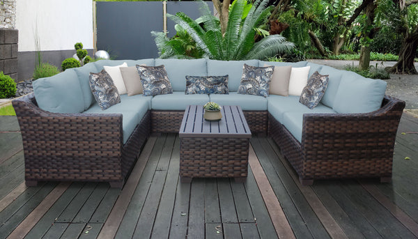 Kathy Ireland Homes & Gardens River Brook 9 Piece Outdoor Wicker Patio Furniture Set 09c