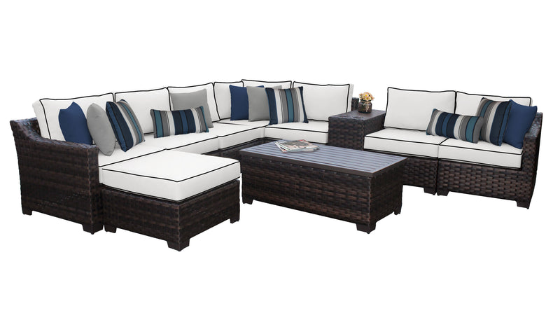 Kathy Ireland Homes & Gardens River Brook 10 Piece Outdoor Wicker Patio Furniture Set 10b
