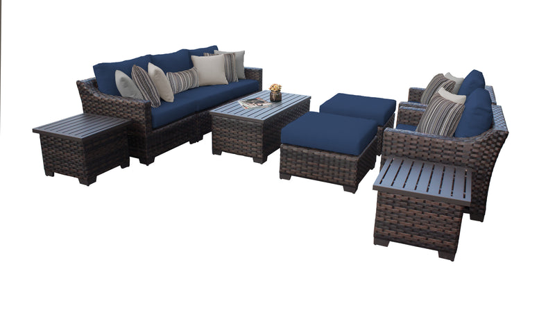 kathy ireland Homes & Gardens River Brook 10 Piece Outdoor Wicker Patio Furniture Set 10c