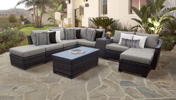 kathy ireland Homes & Gardens River Brook 10 Piece Outdoor Wicker Patio Furniture Set 10d