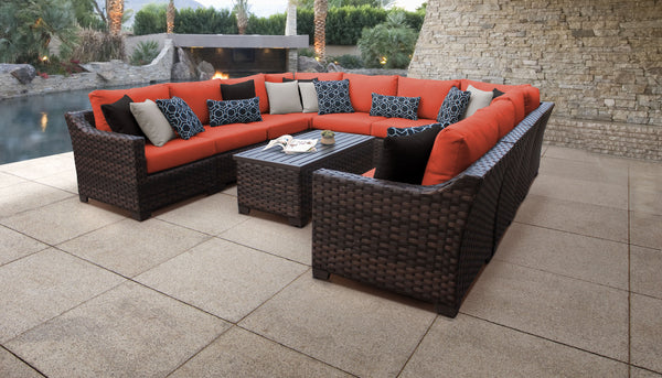 kathy ireland Homes & Gardens River Brook 11 Piece Outdoor Wicker Patio Furniture Set 11a