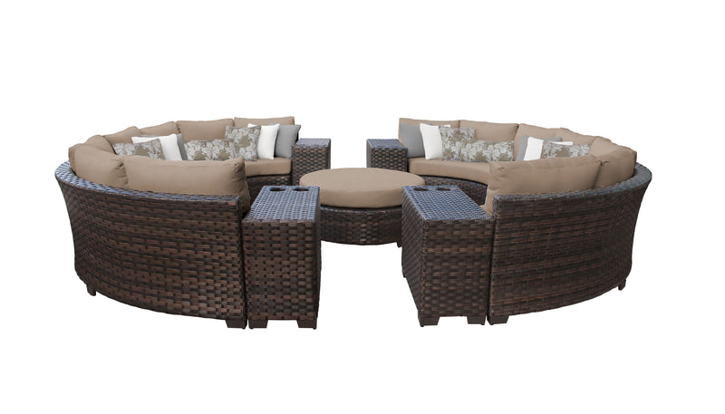kathy ireland Homes & Gardens River Brook 11 Piece Outdoor Wicker Patio Furniture Set 11b