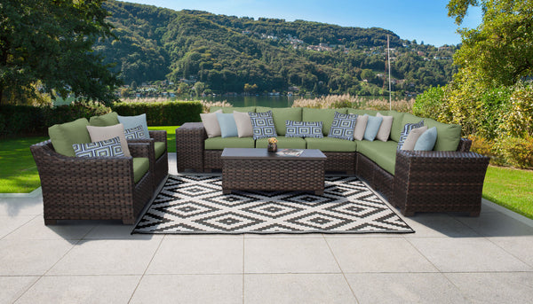 kathy ireland Homes & Gardens River Brook 11 Piece Outdoor Wicker Patio Furniture Set 11c