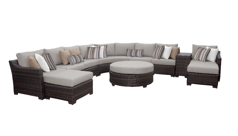 Kathy Ireland Homes & Gardens River Brook 11 Piece Outdoor Wicker Patio Furniture Set 11d