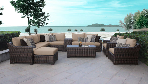 kathy ireland Homes & Gardens River Brook 12 Piece Outdoor Wicker Patio Furniture Set 12a