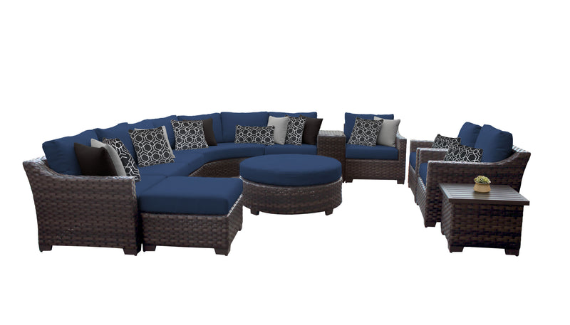 Kathy Ireland Homes & Gardens River Brook 12 Piece Outdoor Wicker Patio Furniture Set 12b