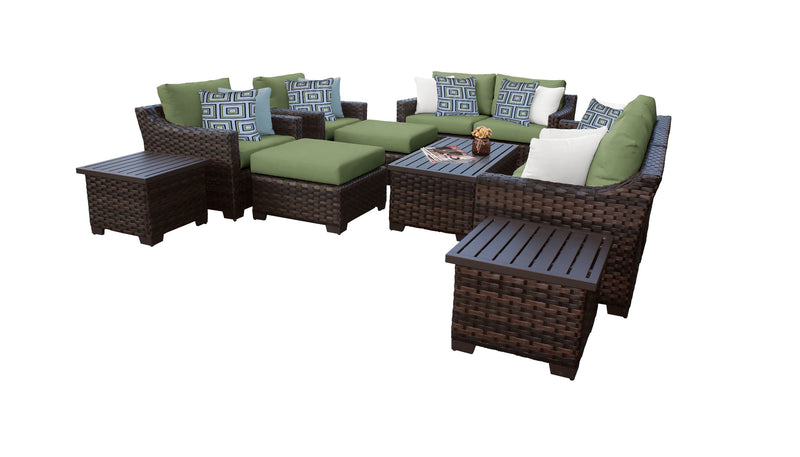 Kathy Ireland Homes & Gardens River Brook 12 Piece Outdoor Wicker Patio Furniture Set 12h