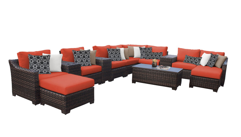 Kathy Ireland Homes & Gardens River Brook 14 Piece Outdoor Wicker Patio Furniture Set 14a
