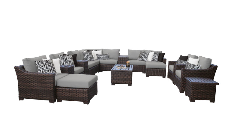 Kathy Ireland Homes & Gardens River Brook 17 Piece Outdoor Wicker Patio Furniture Set 17a