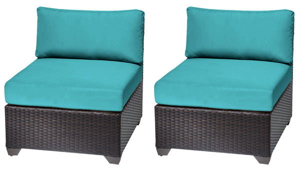 Barbados 2 Piece Armless Sofa Outdoor Wicker Patio Furniture Set
