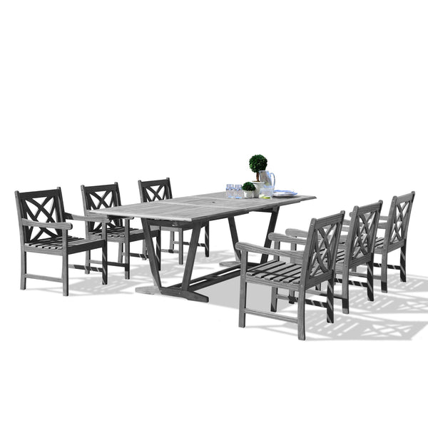 LATA Outdoor 7-piece Hand-scraped Wood Patio Dining Set with Extension Table