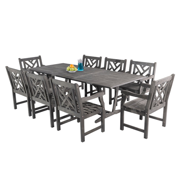 LATA Outdoor 9-piece Hand-scraped Wood Patio Dining Set with Extension Table