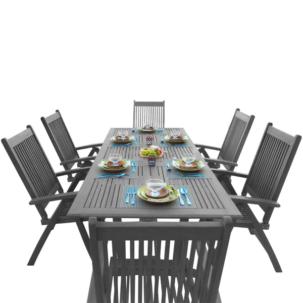 LATA Outdoor Patio Hand-scraped Wood 7-piece Dining Set with Extension Table