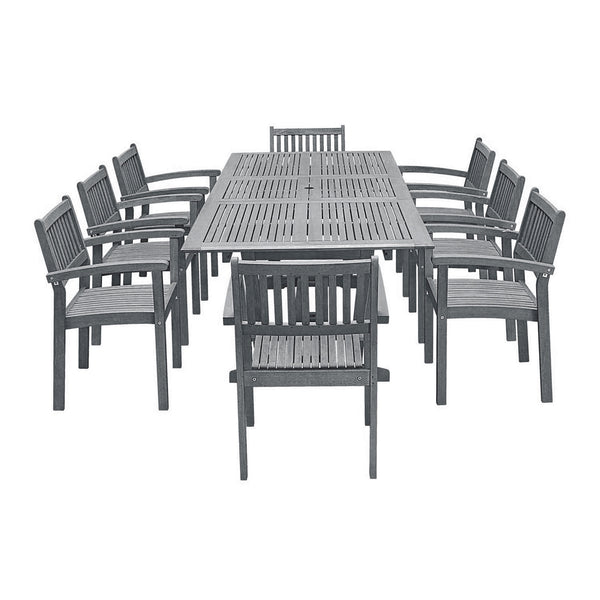 LATA Outdoor Patio Hand-scraped Wood 9-piece Dining Set with Extension Table