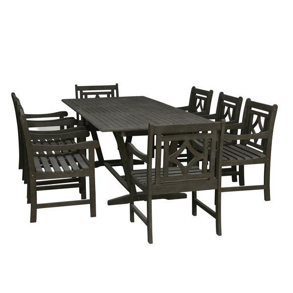 LATA Outdoor 9-piece Wood Patio Extendable Table Dining Set