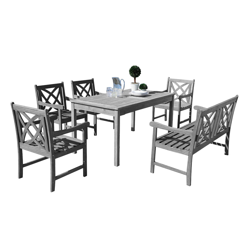 LATA Outdoor 6-piece Hand-scraped Wood Patio Dining Set with 4-foot Bench