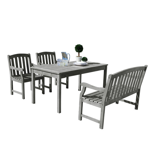 LATA Outdoor 4-piece Hand-scraped Wood Patio Dining Set with 4-foot Bench