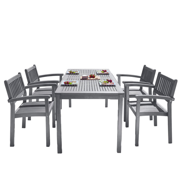 LATA Outdoor Patio Hand-scraped Wood 5-piece Dining Set with Stacking Chairs