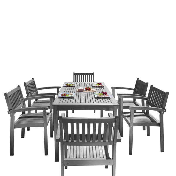 LATA Outdoor Patio Hand-scraped Wood 7-piece Dining Set with Stacking Chairs